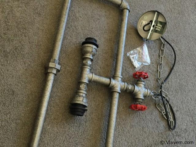 2 x Industriele waterbuis hanglamp met 2 houders  - WAPIDU - Grijs met zwart en rood